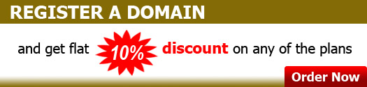 Register a domain and get flat 10% discount on any of the plans